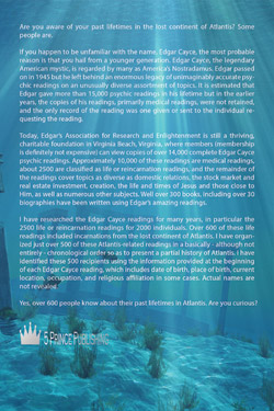 Back cover of Doug Simpson's latest book - We Lived In Atlantis. This is Our Story