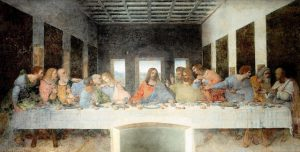 Painting depicting the Last Supper, in colour