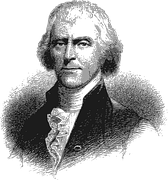 Black and white drawing of Thomas Jefferson